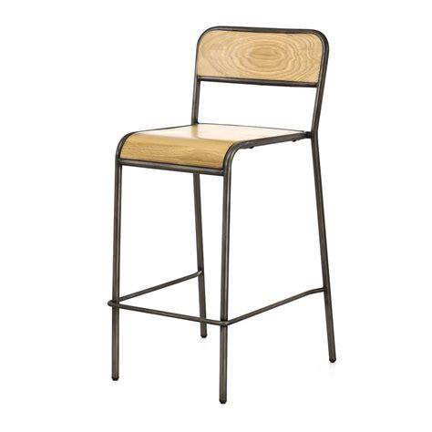chaise pour plan de travail chaise plan de travail style vintage chêne et métal brossé