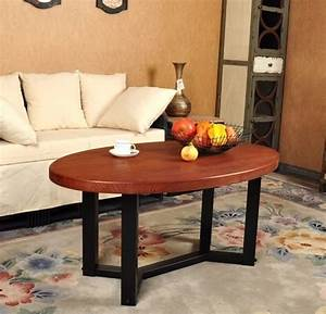 American vintage oval wood combination wrought iron for Dining table coffee table combined