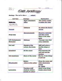 Cell Organelle Analogy Worksheet Answers