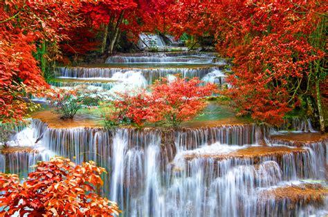 Thailand Seasons Autumn Waterfall Kanchanaburi