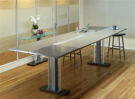 wood and metal media console stand up conference table stoneline designs