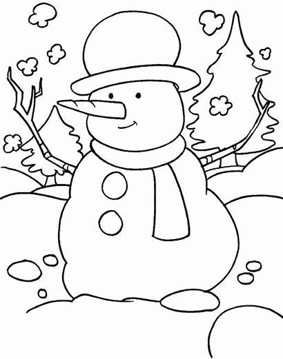 Coloring Winter Season Pages Snowy Snowman Funny