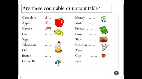 countable  uncountable nouns youtube
