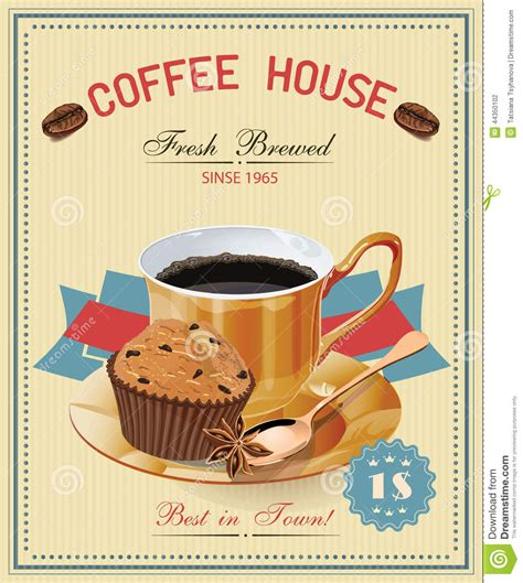 Get this artwork colombian coffee vintage poster in a custom frame. Vintage Poster With Cup Of Coffee. Vector. Stock Vector - Illustration of fresh, bright: 44350102