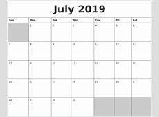 July 2019 Blank Printable Calendar