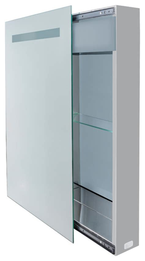 led lighted sliding mirror medicine cabinet 18 quot x30