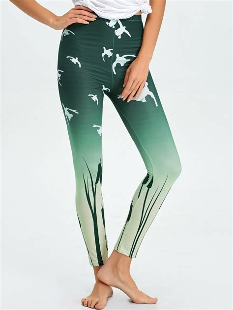 Skinny High Waist Ombre Printed Leggings In Blackish Green