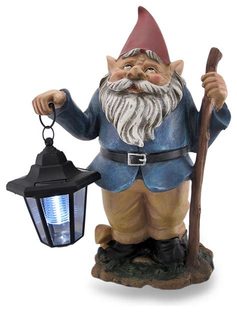 gray haired gnome holding solar lantern led garden gnome