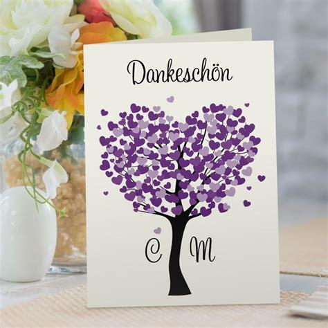 danksagung hochzeit herzbaum lila   danksagung
