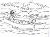Coloring Canoe Canoeing Kinderart Pdf sketch template