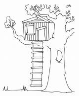Treehouse Coloring Tree Cartoon Printable Simple Colouring Bestcoloringpagesforkids Cool Related Nature Afkomstig Ie sketch template