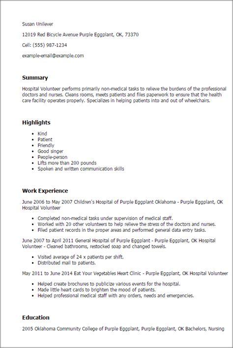 15332 volunteer resume template professional hospital volunteer templates to showcase your