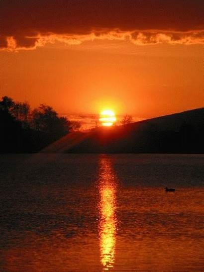 Sunset Sunrise Matahari Terbit Gambar Waterfall Gifs