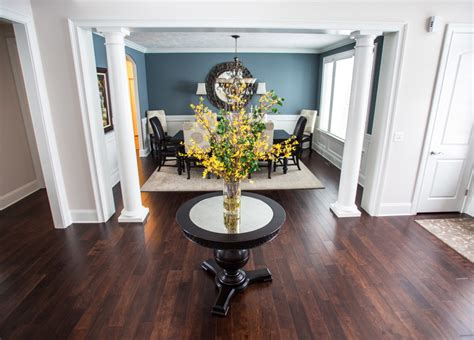 Round Foyer Table Dining Room Transitional With