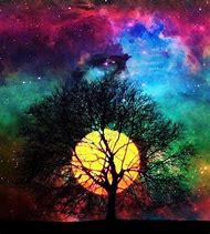 Colorful Night Sky Moon