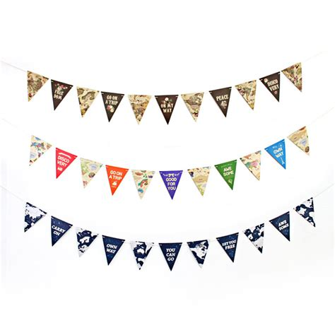 World Map Pattern Small Hanging Paper Flag 25M Length