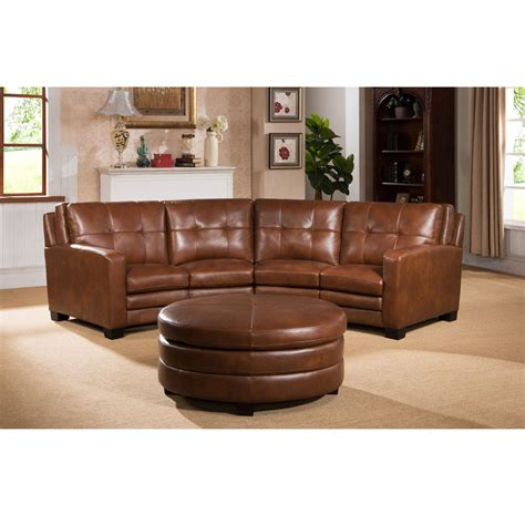 round loveseat with ottoman oakbrook brown curved top grain leather sectional sofa and