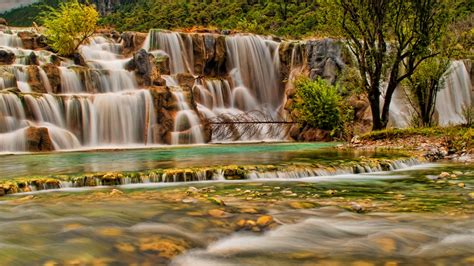 waterfall yulong jade dragon mountain natural landscape china  wallpaperscom