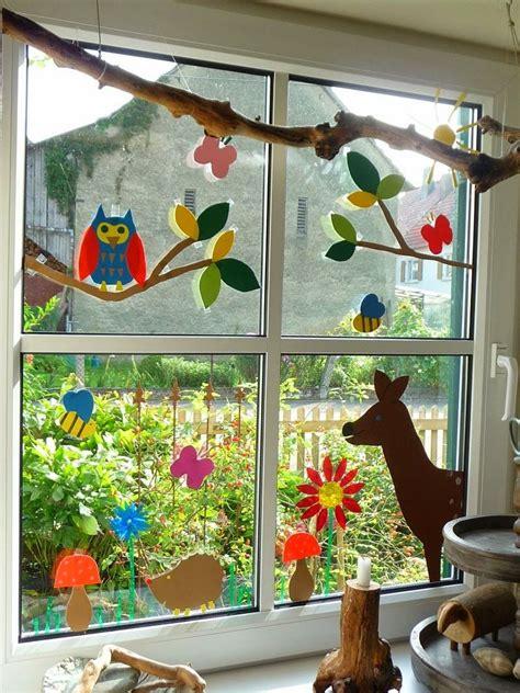 Herbstdeko Fenster Kita by Meine Gr 252 Ne Wiese Gebasteltes Fenstertransparente Deko
