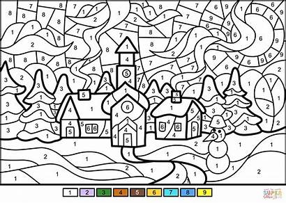 Coloring Winter Number Printable Town Adults Numbers