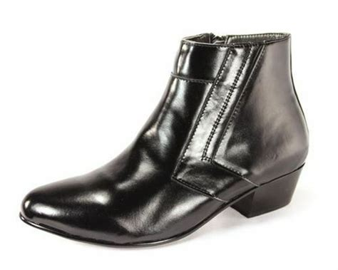 D'italo 5631 Mens Black Leather Cuban Heel Dress Ankle