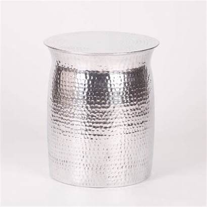 Side Table Hammered Aluminium Stool Drum Tables