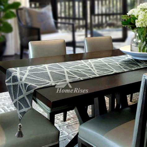 modern table runner grey dining plaid simple outdoor