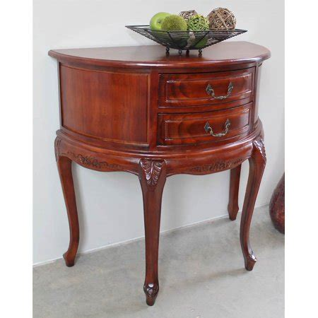 half moon table with drawer carved wood half moon 2 drawer console table