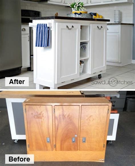 Diy Kitchen Island Made From A $5 Garage Sale Cabinet