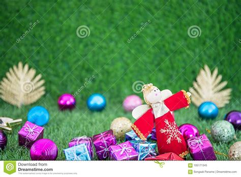 christmas decoration  grass  copy space stock image