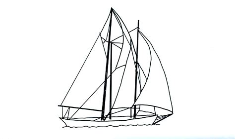 How To Draw Boat With Colour by Sailing Boat Line Drawing Pencil And In Color