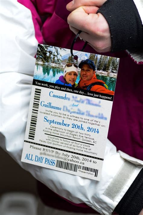 Lift Ticket Wedding Invitations To Kicking Horse In Golden