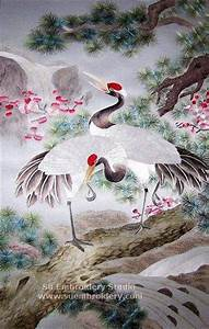 Cranes on Pine Tree, Chinese silk embroidery painting ...