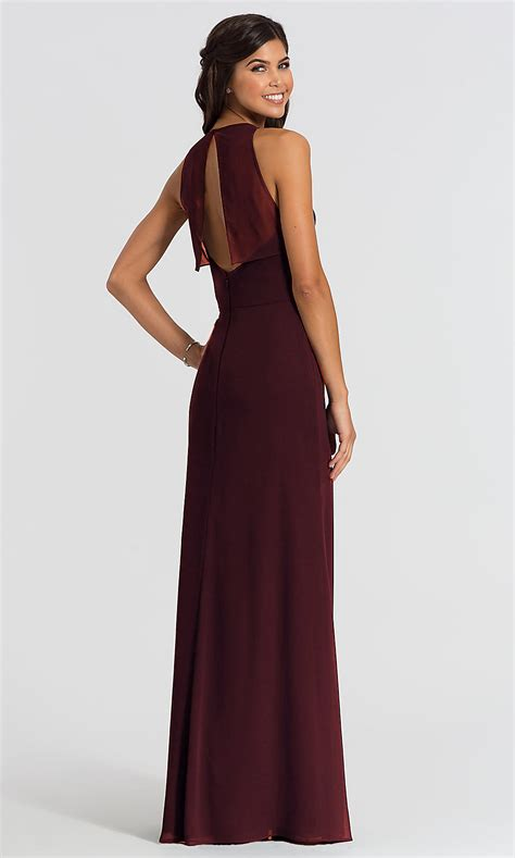 chiffon hayley paige long bridesmaid dress