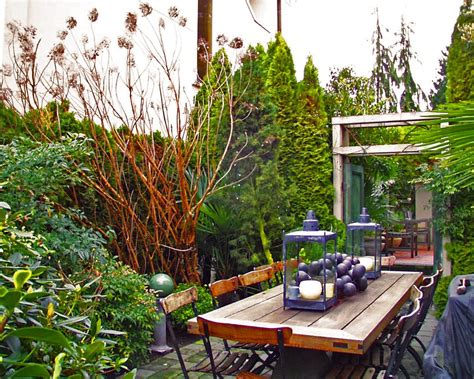 shady narrow side yard patio garden house design with