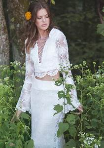 crochet lace wedding dress two piece gown lace up gown With two piece long sleeve wedding dress