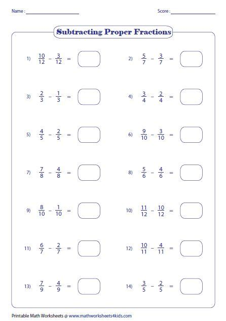 subtracting fractions worksheets    images