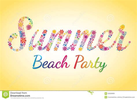 summer beach party vector flower typography stock image image 32029909