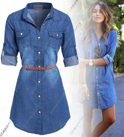 Dress Dona Denim new womens longline denim shirt dress jean dresses