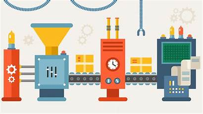Increase Manufacturing Production Efficiency Productivity Line Illustration