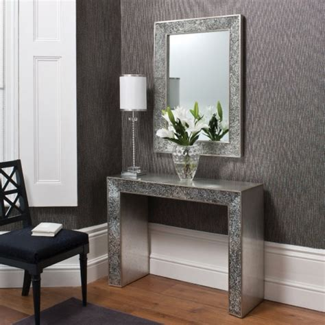 mirror console table contemporary console table with carckle mirror inlay