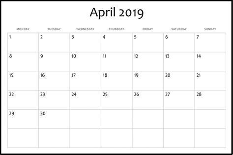 blank calendar april calendar