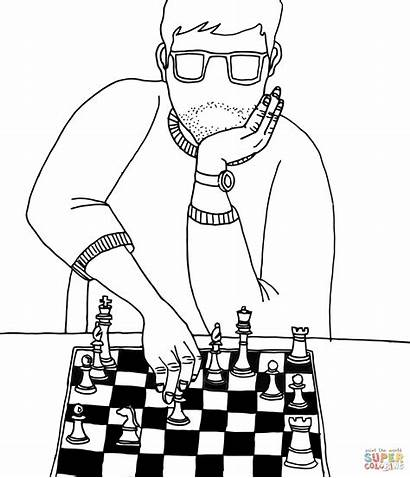 Chess Coloring Playing Pages Drawing Pieces Board