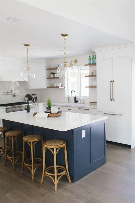 navy island white kitchen open shelving paint benjamin