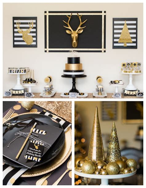 karas party ideas modern black gold christmas party