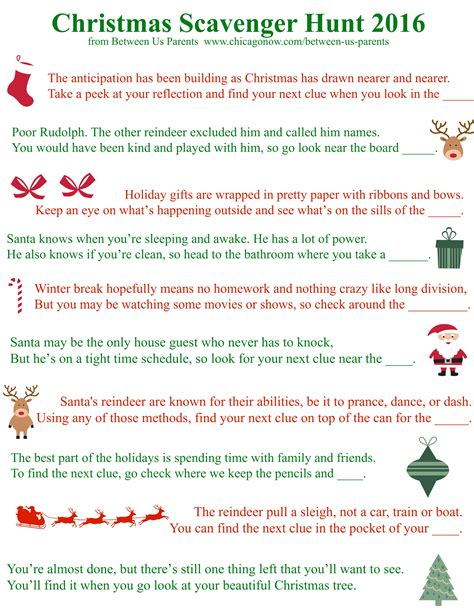 scavenger hunt clues for printable christmas scavenger hunt clues 2016 edition