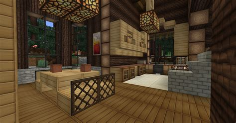 Minecraft Interior Design Kitchen by Minecraft Survival Log Cabin Interior Dining Room