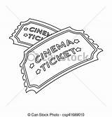 Ticket Cinema Outline Vector Icon Isolated Films Symbol Background Illustration Clip sketch template