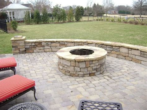 this paver patio and masonry firepit in charlotte nc also included the seat wall drainage