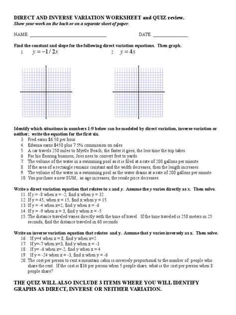 Worksheets Direct And Inverse Variation Worksheet Waytoohuman Free Worksheets For Kids